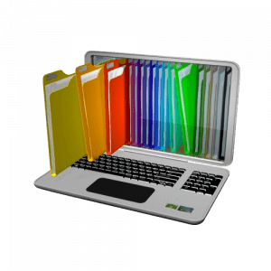 Colorful file folder coming out of the computer screen